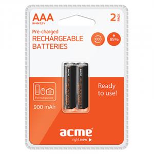 Μπαταρίες Επαναφορτιζόμενες NiMH Acme R03 900mAh AAA (2 pcs)