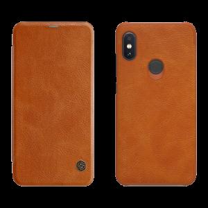 Θήκη Nillkin Qin Δερμάτινη Flip με πορτάκι για Xiaomi Redmi Note 6 Pro - Καφέ