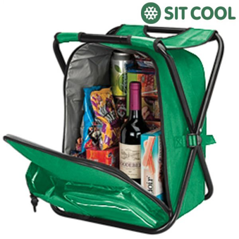 72819fffff1 Πτυσσόμενη Καρέκλα 3 σε 1 Ισοθερμική Τσάντα Σακίδιο Πλάτης Sit Cool -  Πράσινο