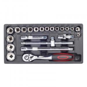 Σετ καρυδάκια πολύγωνα με καστάνια χειροκίνητο τροχό και επεκτάσεις 1/2' 8-32mm Haka Tools 22 τεμάχια
