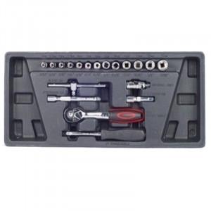Σετ καρυδάκια πολύγωνα με καστάνια χειροκίνητο τροχό και επεκτάσεις 1/4' 4-14mm Haka Tools 18 τεμάχια