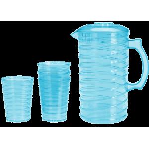 Κανάτα με 4 ποτήρια πλαστικά - Μπλε