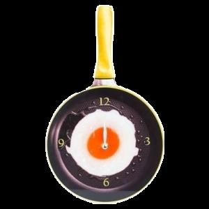 Ρολόι Τοίχου σε Σχήμα Τηγάνι με Αυγό - Κίτρινο