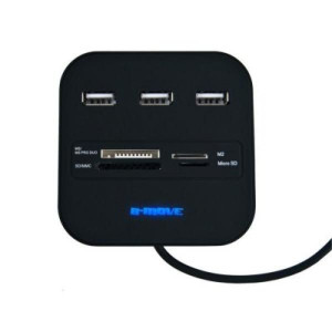 Card Reader 20 in 1 B-MOVE BM-CR04 3 x USB - Μαύρο