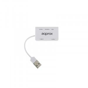 USB Hub approx! APPHT8W SD/MICRO SD USB 2.0 - Λευκό