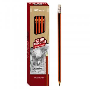 Μολύβι Ξύλινο με Γόμα JUSTnote 80131 - Κόκκινο / Μαύρο