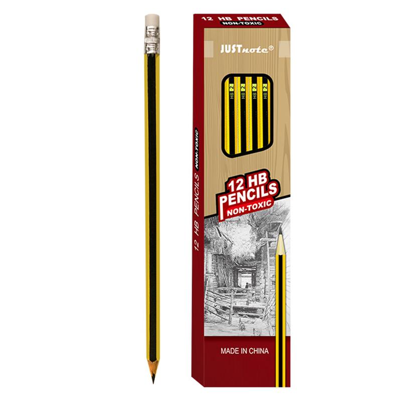 Μολύβι Ξύλινο με Γόμα JUSTnote 80688 - Κίτρινο / Μαύρο