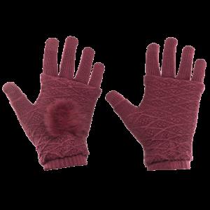 Γάντια για Οθόνη Αφής και Γάντια Χωρίς Δάκτυλα 2 σε 1 - Κόκκινο