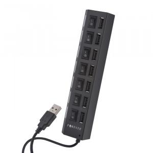 USB Hub Forever 7-Ports με Διακόπτη ON-OFF σε Κάθε Θύρα - Μαύρο