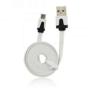 Καλώδιο Φόρτισης και Μεταφοράς Δεδομένων USB Flat MICRO USB - Άσπρο