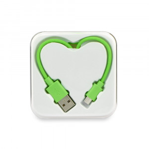 Καλώδιο Φόρτισης και Μεταφοράς Δεδομένων MICRO USB σε USB BOX HEART - Πράσινο
