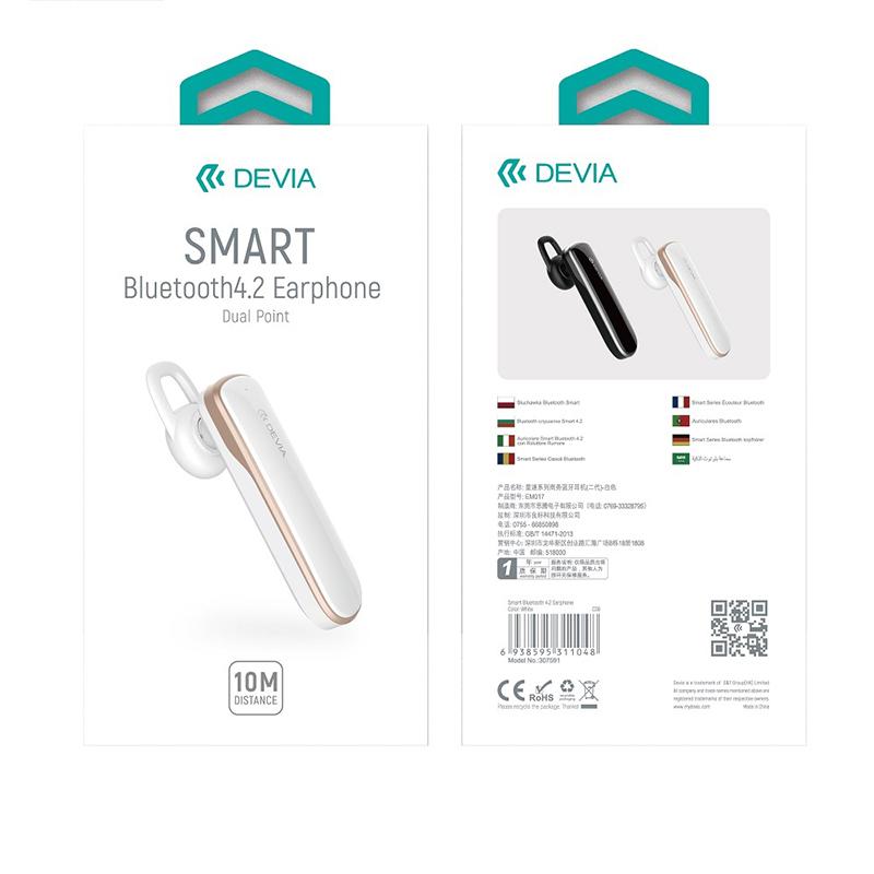 Ακουστικό Bluetooth Devia Smart 4.2 - Άσπρο