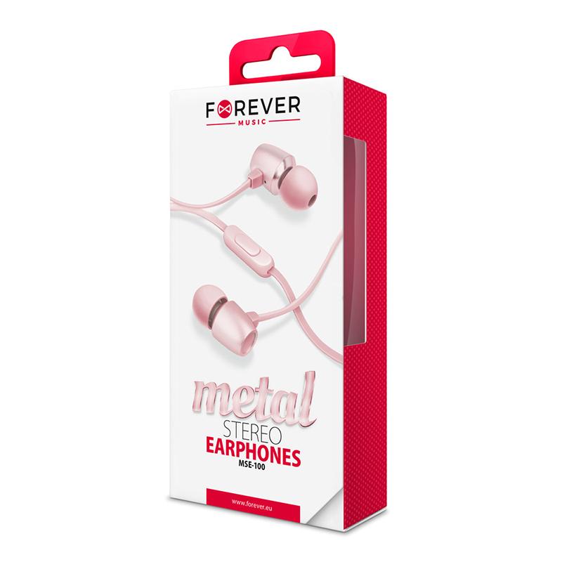 Handsfree Ακουστικά Forever MSE-100 Metal Stereo - Ροζ Χρυσό