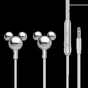 Handsfree Ακουστικά Mickey Mirror Head 3D - Ασημί