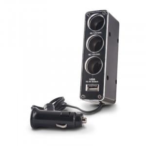 Φορτιστής Αυτοκινήτου Splitter 3 σε 1 με Καλώδιο USB Forever - Μαύρο