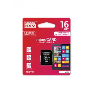 Κάρτα Μνήμης GOODRAM microSD 16GB CLASS 10 UHS με Αντάπτορα