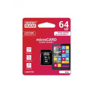 Κάρτα Μνήμης GOODRAM microSD 64GB CLASS 10 UHS I με Αντάπτορα