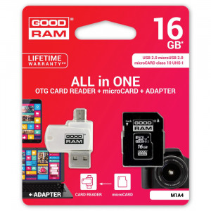 Κάρτα Μνήμης GOODRAM ALL IN ONE MicroSDHC 16GB UHS-I cl.10 με Αντάπτορα και Card Reader