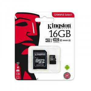 Κάρτα Μνήμης KINGSTON microSDHC 16GB Class 10 με Αντάπτορα
