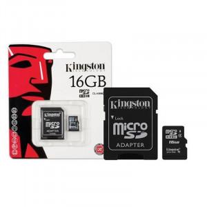 Κάρτα Μνήμης KINGSTON microSDHC 16GB Class 4 με Αντάπτορα