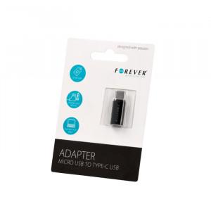 Αντάπτορας Forever Micro USB (F) / USB Type-C (M) - Μαύρο