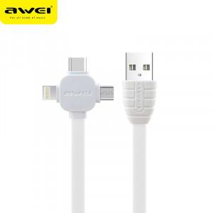 Καλώδιο Φόρτισης και Μεταφοράς Δεδομένων AWEI CL82 3in1 1m - Άσπρο