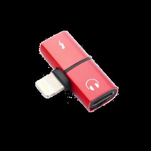 Αντάπτορας Splitter Lightning (M) σε 2 x Lightning (F) - Κόκκινο