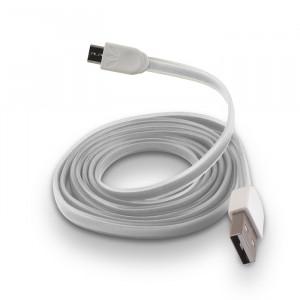 Καλώδιο Φόρτισης και Μεταφοράς Δεδομένων Forever Silicone Flat USB σε Micro USB - Άσπρο