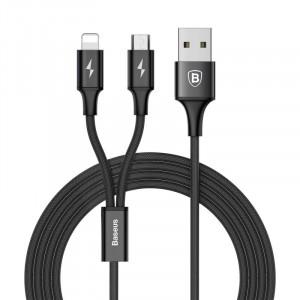 Καλώδιο Φόρτισης και Μεταφοράς Δεδομένων Baseus Rapid Series 2 in 1 USB σε Lightning / microUSB - Μαύρο