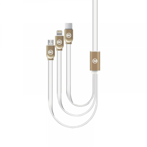 Καλώδιο Φόρτισης και Μεταφοράς Δεδομένων 1m WK-Design WDC-010 Platinium 3in1 - Άσπρο