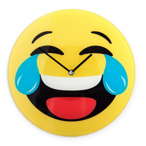 Ρολόι Τοίχου Γυάλινο Laughing Emoji