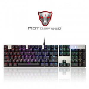 Gaming Πληκτρολόγιο Motospeed Inflictor CK104 Ενσύρματο Μηχανικό RGB (Blue Switches) - Ασημί