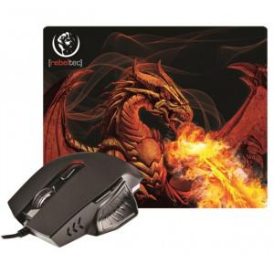 Gaming Ποντίκι REBELTEC RED DRAGON με Mousepad - Μαύρο