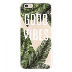 Θήκη Σιλικόνης με σχέδιο Good Vibes για iPhone 7/8  - Διάφανη