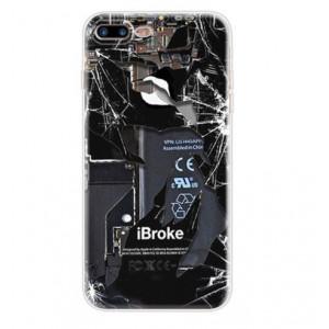 Θήκη Σιλικόνης με σχέδιο Σπασμένη συσκευή για iPhone 7/8  - Διάφανη